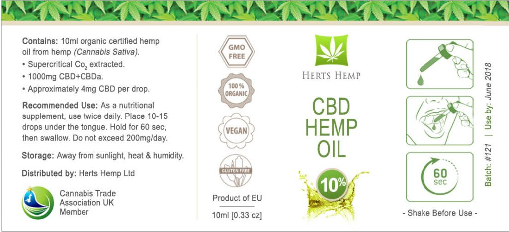 Herts Hemp Ingredient Label