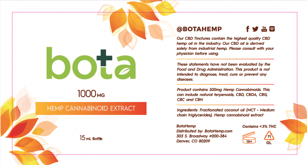 Bota Hemp label