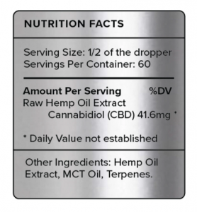 PureKana Natural CBD 2500 Ingredients Label