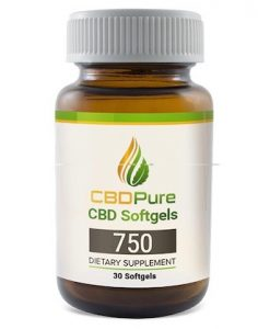 Bottle of CBDPure Softgels 750
