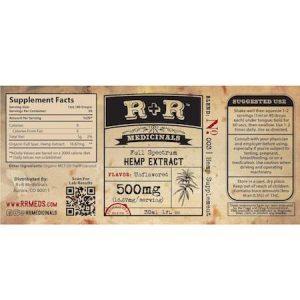 R + R Medicinals CBD 500mg Unflavored Ingredients Label