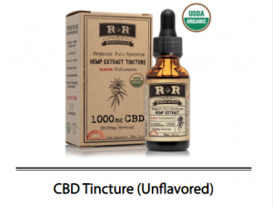 R + R Medicinals Unflavored Tinctures bottle and box